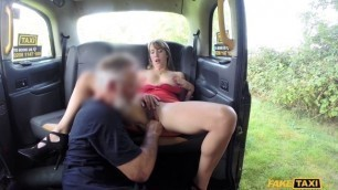 Appealing Lady in short dress gets creampie FakeTaxi