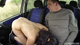 Sexy czech bitch fucks with a man in the car 35