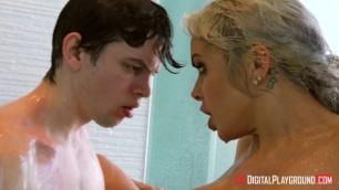 Busty Blonde Milf Nina Elle Deepthroat Blowjob and Hard Sex