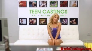 Real teen fucked and deepthroating at rough BDSM casting