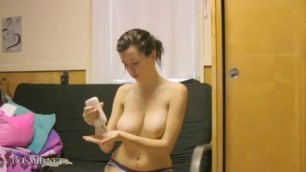 Tess Ellen Lotion Brunette Strip Big Boobs