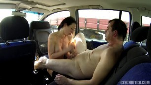 Awesome czech bitch In black stockings fucks with a man in the car 40