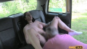 FakeTaxi Tattoo Brunette Babe Kimmie Fox Gets Anal Fucked in the Car