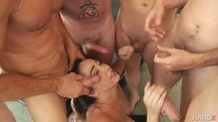 Karlee Grey Karlee Greys 1st Blow Bang blowjob action with 8 guys HardX