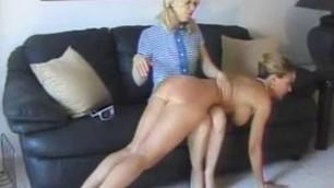 Lesbian spanking and kissing Beautiful Blonde Girls