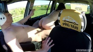 Czech Girl in the taxi makes a throat blowjob 36
