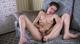 Kitty Bush has a really hairy cunt Takes dildo and fingers