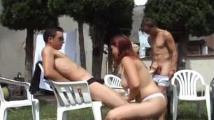Brunette ravaged in Amazing public group sex