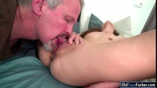Amelie is sucking off an old guys cock
