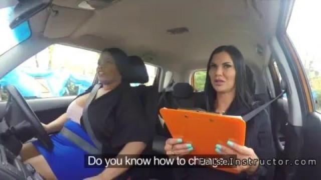 Seductive Lesbian examiner toys huge ebony student