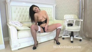 Emmy Gola Strips Naked on her White Couch