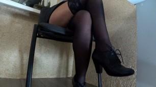 Girl masturbates in the office