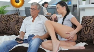 DADDY4K. Boy works on computer while his GF seduces old guy