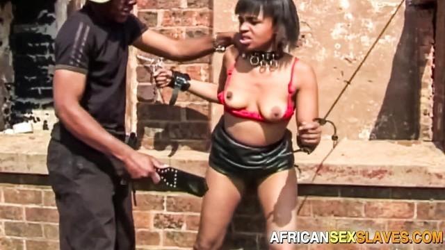 Tied Up Ebony Sub Sucks and Fucks BBC In Public