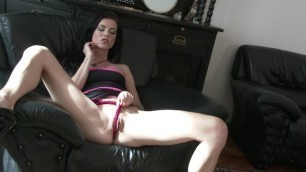 Hot and sexy bisexual brunette Laila´s first session with her elegant dres