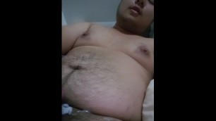 Asian chub playing with huge 8 inch dildo and cums