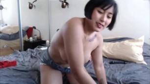 Muscular Asian Mia Li loves to ride toys